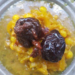 Tajine d'agneau aux raisins sec, pruneaux et amandes